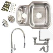 Premium Undermount Stainless Steel Kitchen Sink | Reversible 1.5 Bowl | Single Lever Pull-Out Kitchen Tap Pack and Pipework
